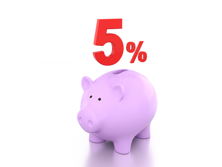 five cents: Five Percent with Piggy 3D Rendering Image