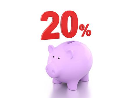 twenty: Twenty Percent with Piggy 3D Rendering Image