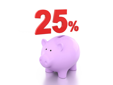 Twenty Five Percent with Piggy 3D Rendering Image