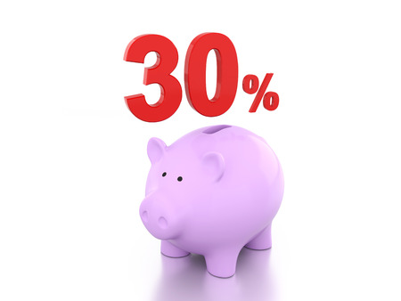 Thirty Percent with Piggy 3D Rendering Image