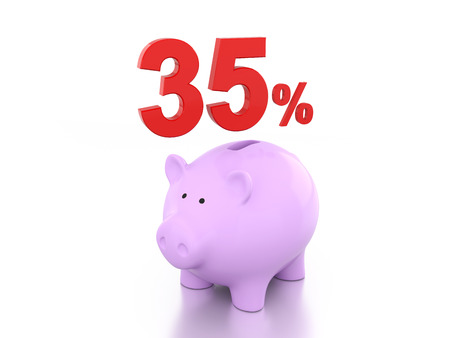 Thirty Five Percent with Piggy 3D Rendering Image