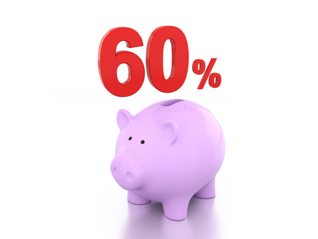 sixty: Sixty Percent with Piggy 3D Rendering Image