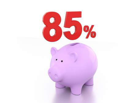 five rupee: Eighty Five Percent with Piggy 3D Rendering Image