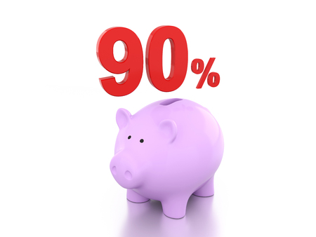 Ninety Percent with Piggy 3D Rendering Image
