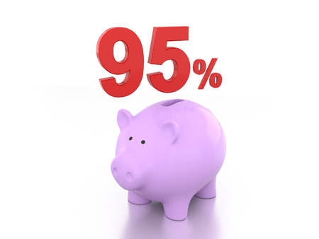 five rupee: Ninety Five Percent with Piggy 3D Rendering Image