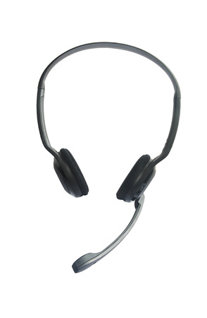 headset voice: Headphones with Mic Isolated on White Stock Photo
