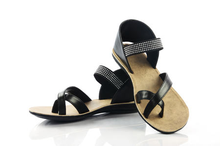 Indian Made Ladies sandal Isolated on White Background Stock Photo
