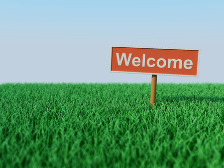 eco notice: Welcome Concept - 3D Rendered Image Stock Photo