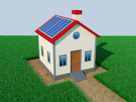 solar home: Home with Solar Panel - 3D Rendered Image