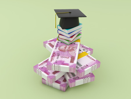 New Indian Currency with Books - 3D Rendered Image