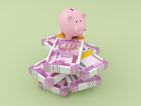 New Indian Currency with Piggy Bank - 3D Rendered Image Stock Photo