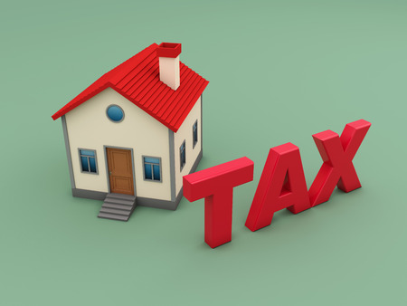 Tax Concept with House Model - 3D Rendered Image