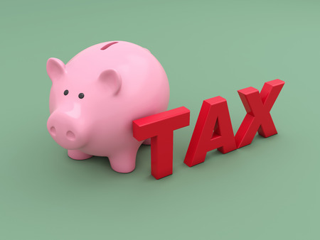 taxpayer: Tax Concept with Piggy Bank - 3D Rendered Image