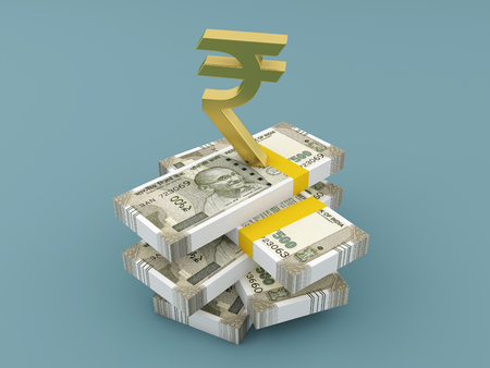 New Indian Currency with Symbol - 3D Rendered Image