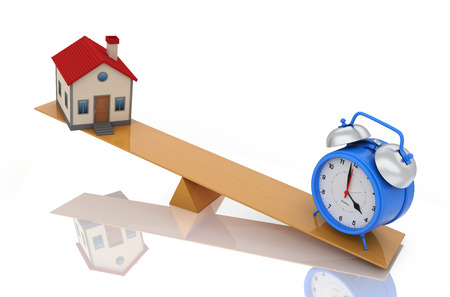 up time: Alarm clock with House Model - 3D Rendering Image Stock Photo