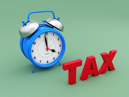 Alarm clock with Tax Text - 3D Rendering Image