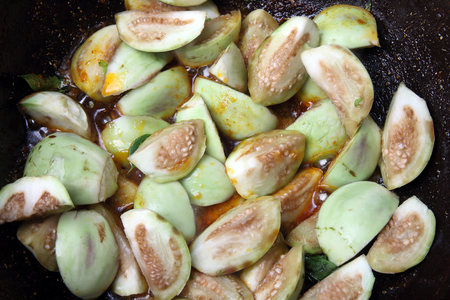 cooking oil: Eggplant(Brinjal) Curry Stock Photo