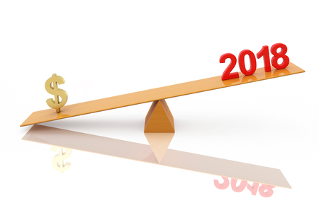New Year 2018 with Dollar symbol - 3d rendering image