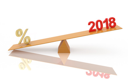 New Year 2018 with Percentage - 3D Rendered Image Stock Photo