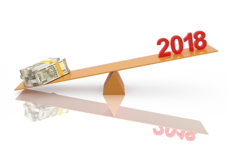 New Year 2018 with 500 Indian Rupee - 3D Rendered Image