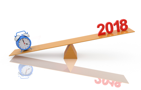 New Year 2018 with Alarm clock - 3D Rendered Image