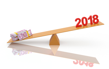 New Year 2018 with 2000 Indian Rupee - 3D Rendered Image