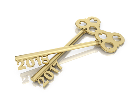 New Year 2018 with Key - 3D Rendered Image Stock Photo