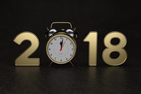 新年 2018 時計 - 3 D でレンダリング画像