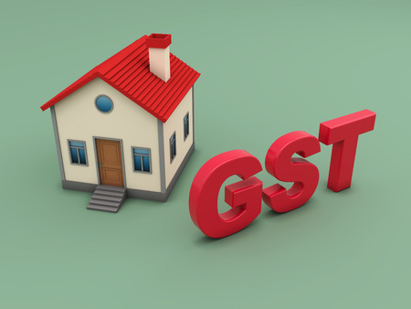 G S T concept with House Model - 3D Rendering Image Stock Photo