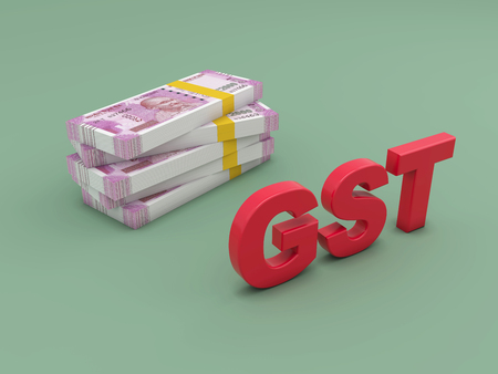 G S T concept with New Indian Currency - 3D Rendering Image Stock Photo
