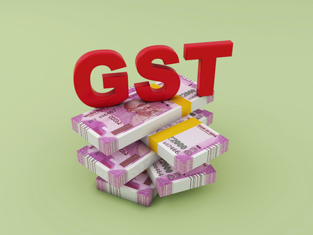 G S T concept with New Indian Currency - 3D Rendering Image Stockfoto