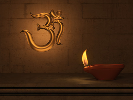 3d om: Indian Traditional Oil Lamp with Om symbol