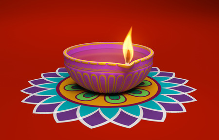 Indian Traditional Oil Lamp with Kolam Design Stok Fotoğraf