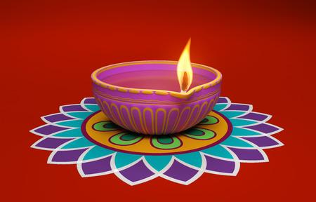 Indian Traditional Oil Lamp with Kolam Design Standard-Bild