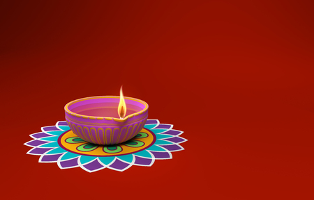 Indian Traditional Oil Lamp with Kolam Design Stock Photo