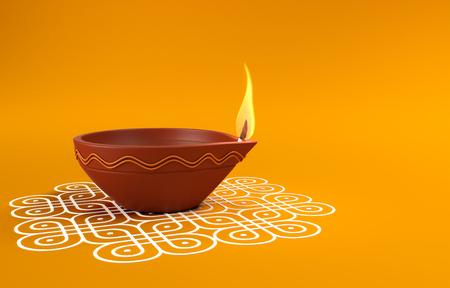 インドの伝統的な石油ランプ コーラム デザインと 写真素材