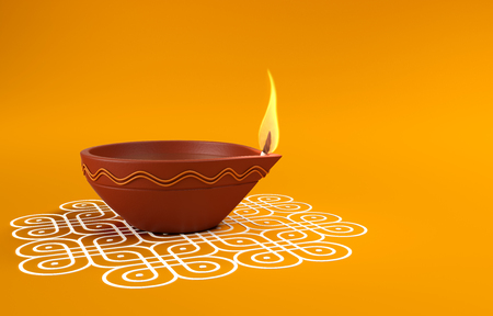 Indian Traditional Oil Lamp with Kolam Design Imagens