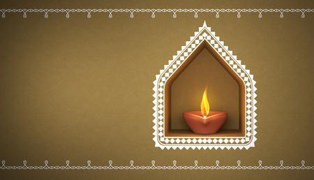 Indian Traditional Oil Lamp with Kolam Stock fotó