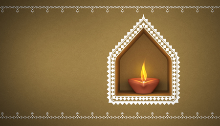 Kolam과 인도 전통 오일 램프 스톡 콘텐츠