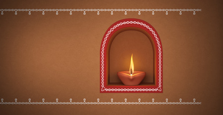 Indian Traditional Oil Lamp with Kolam design