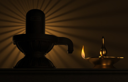 Indian Traditional Oil Lamp with siva lingam