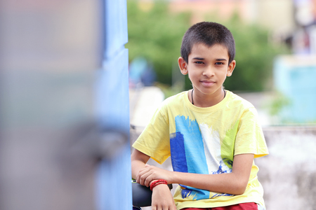 Portrait of Indian Boy Posing to Camera Stock Photo - 83651777