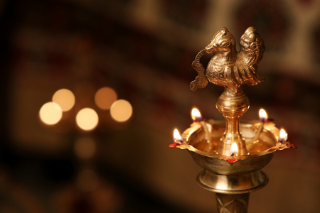 Indian Traditional Oil Lamp with Flame