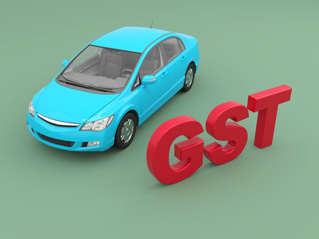 G S T Concept with Car - 3D Rendered Image