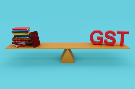 taxpayer: G S T Concept with Books - 3D Rendered Image