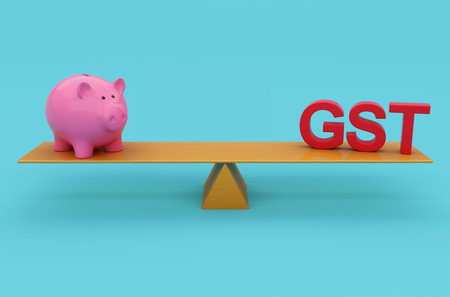 G S T Concept with Piggy Bank - 3D Rendered Image Stock Photo
