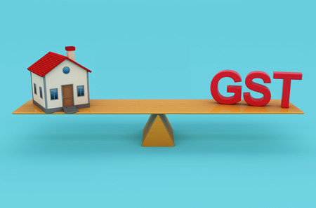 taxpayer: G S T Concept with House Model - 3D Rendered Image