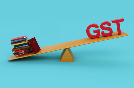 G S T Concept with Books - 3D Rendered Image