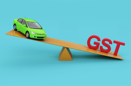 taxpayer: G S T Concept with Car model - 3D Rendered Image