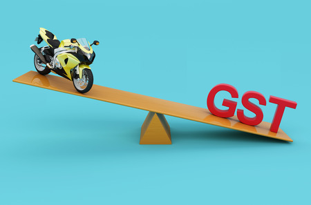 G S T Concept with Motorcycle - 3D Rendered Image